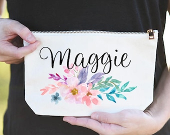 Personalized Name Cosmetic Bag, Personalized Name Makeup Pouch, Custom Name Floral Makeup Bag, Bridesmaid Cosmetic Bag Personalized, Makeup