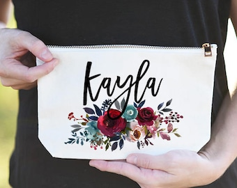 Bridesmaid Name Bag, Bridesmaid Name Cosmetic Bag, Bridesmaid Name Makeup Bag, Bridesmaid Makeup Bag Name, Bridesmaid Monogram Name Bag