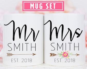 c48a22815b Mr and Mrs Mug Set, Bride and Groom Mug Set, Mr and Mrs Anniversary Mugs,  Wedding Couple Mug Set, Personalized Mr and Mrs Mug Set, Mr & Mrs
