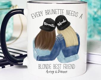 Brunette and Blonde Bff Mug, Brunette and Blonde Gift, Brunette and Blonde BFF, Best Friend Mugs Blonde and Brunette, Blonde and Brunette