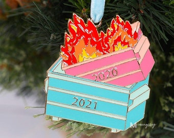 Christmas Ornament, Dumpster Fire Ornament, 2021 Dumpster Fire, Funny Christmas Ornament, Dumpster Fire Patch, 2021 Christmas Ornament,