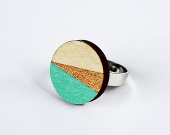 circle wooden ring, round wooden ring, adjustable ring, circle ring, geometric ring, minimal ring, turquoise, gold