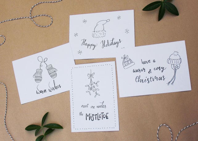 Christmas card set funny christmas cards xmas cards cute | Etsy