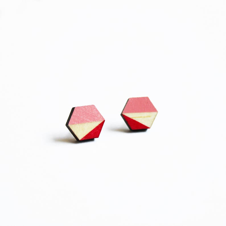 Tiny studs laser cut earrings girlfriend gift salmon image 0