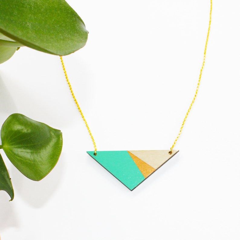 Geometric wooden triangle necklace turquoise necklace wood image 0