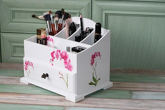 Commode pinceau titulaire orchidées rose décor maquillage