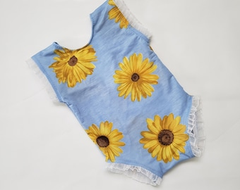 38068e078 5 - 8 months sunflower romper for photography, baby girl photo outfits, baby  blue lace dress, baby floral clothes, baby floral romper,