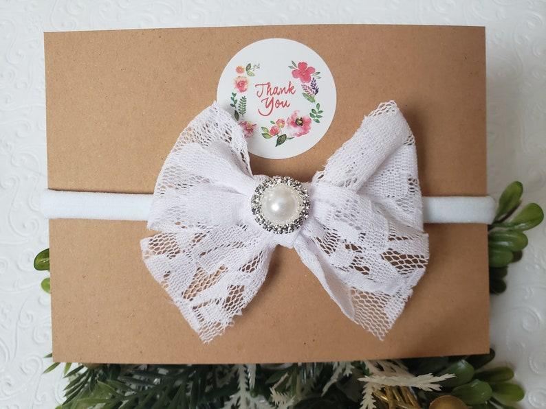 baby faux bow baby lace bow Baby lace bow headband newborn lace headband toddler nylon headband newborn white bow Baby photo props