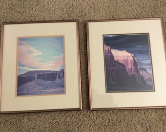 """Pair of Ed Mell open prints """"Sedona Storm"""" & """"Sunset at Coalmine Canyon"""""""