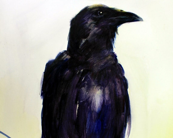Crow 33 - signed print - watercolor - Bonnie White - Columbia Gorge Artist