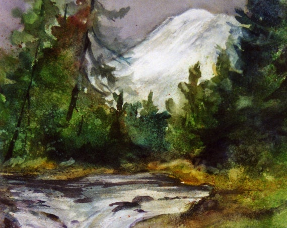 WSNSR - White Salmon River signed print of a watercolor by bonnie white