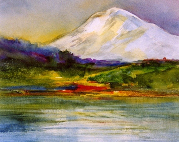 Mt. Adams Dream - a signed print from a watercolor of Mt. Adams done by Bonnie White