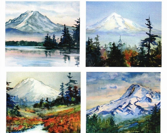 Pacific Northwest Mountain blank note cards 4.25 x 5.5 with envelopes and cover suitable as gift