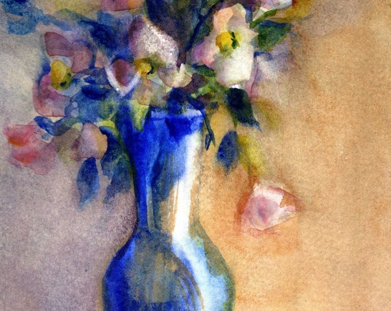 Blue Vase floral original watercolor painting by Bonnie White 5x7 matted to 8x10