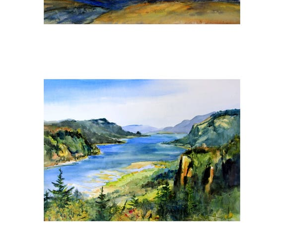 10x16 - 2 matted prints of the Columbia River Gorge by Bonnie White
