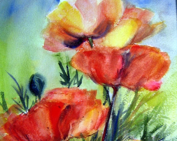 Poppies 10 - a signed poppy print from an original watercolor by Bonnie White