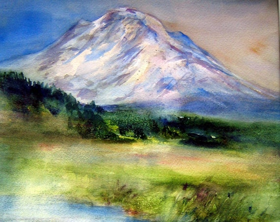 Mt. Adams 4 - a signed print of a watercolor of Mt. Admas by Bonnie White