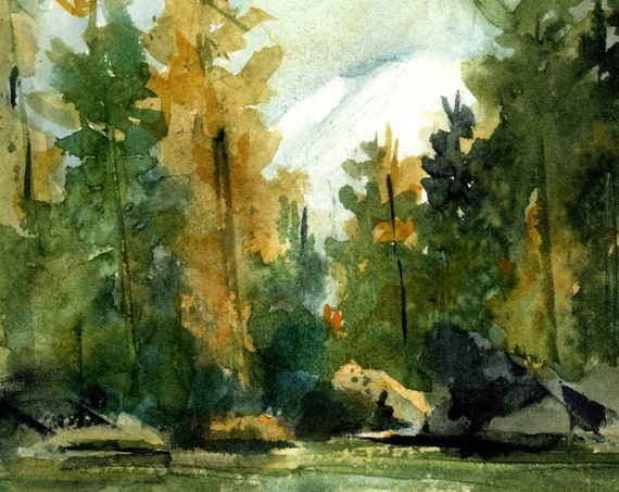 Mt. Adams and White Salmon River near Trout Lake, original watercolor painting by Bonnie White