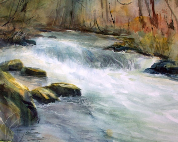 Rattlesnake Falls below Husum Falls on the White Salmon River -- print from a watercolor painting by Bonnie White