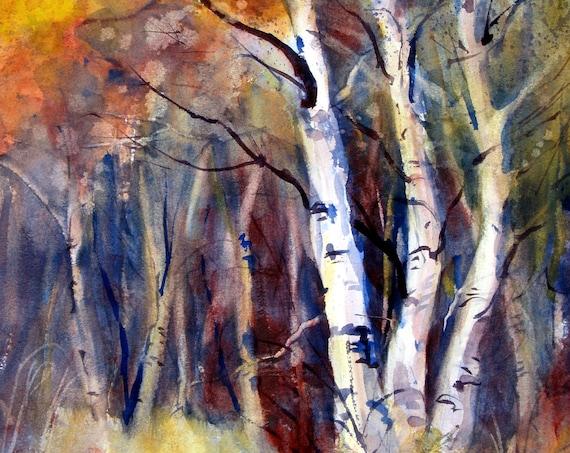 fall aspen trees print from an original watercolor by Bonnie White Aspen Grove 6