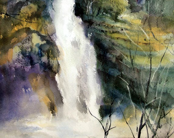 Horsetail Falls - Columbia Gorge - signed print of a watercolor by Bonnie White