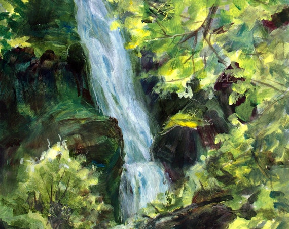 Columbia Gorge waterfall original acrylic painting by Bonniewhitewatercolor #201214