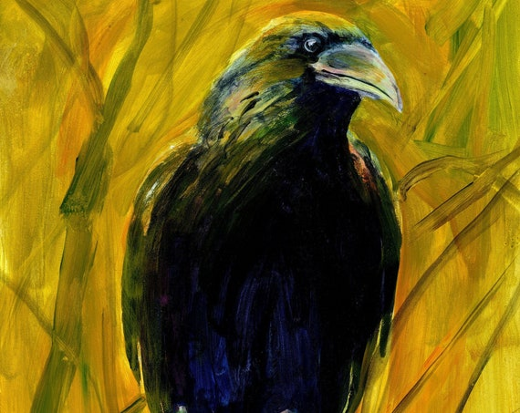 Raven - My Wild Friend - original acrylic painting by Bonnie White on Gessobord