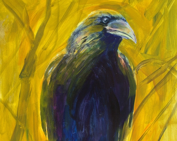 Raven - My Wild Friend - original acrylic painting by Bonnie White on Gessobord #201219