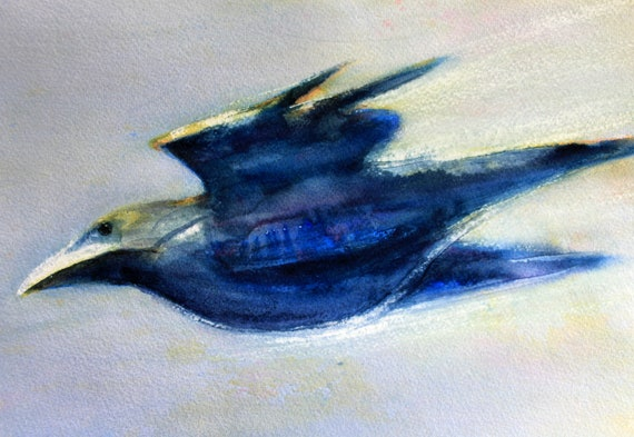 Raven 8 original watercolor by Bonnie White