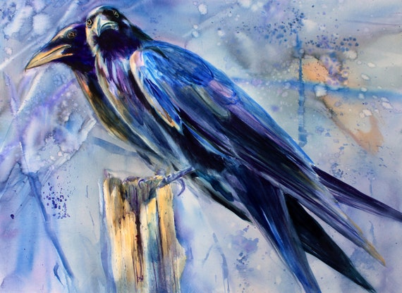 Ravens in the Garden - prints made from a watercolor painting by Bonnie White