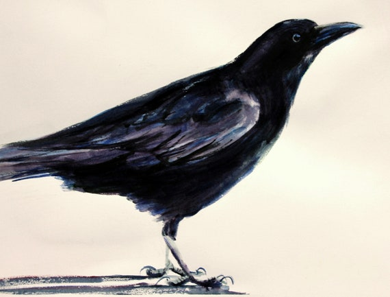 A signed crow print from an original watercolor by Bonnie White Raven 3
