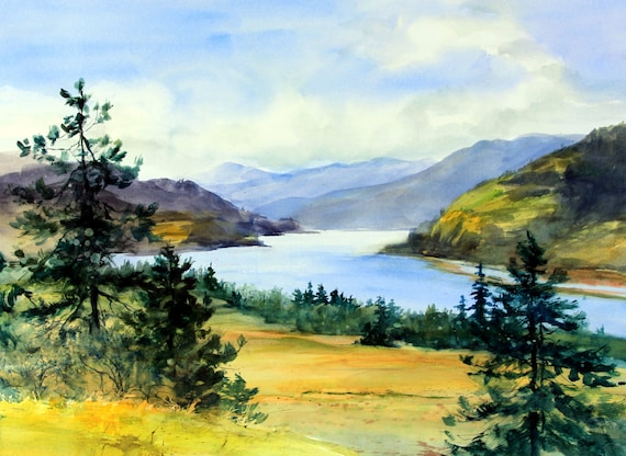 Columbia Gorge 383 - signed Columbia Gorge watercolor print - Bonnie White