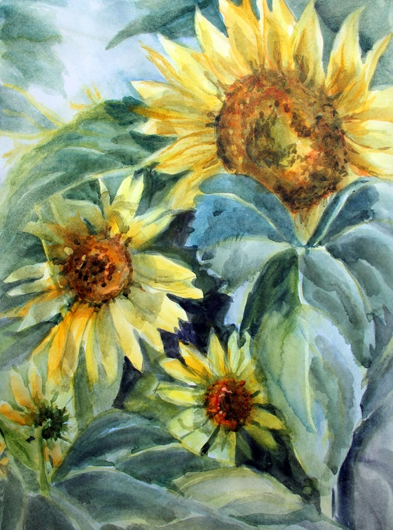 Sunflowers - garden a sunflower print of a watercolor by Bonnie White