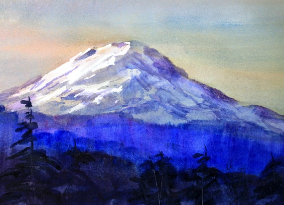 Mt. Adams 90 a print of Mt. Adams from a watercolor by Bonnie White