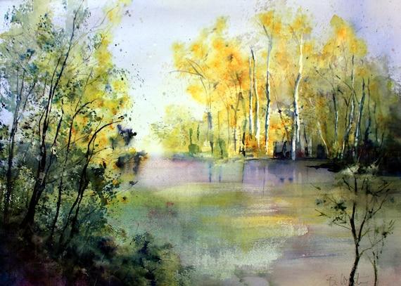 Aspen Grove along a lake landscape signed print of a watercolor by Bonnie White Aspen Grove 10