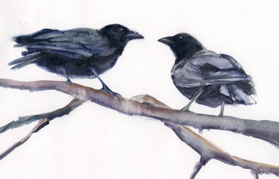 Crow Conference is a matted signed print from a watercolor by bonnie white