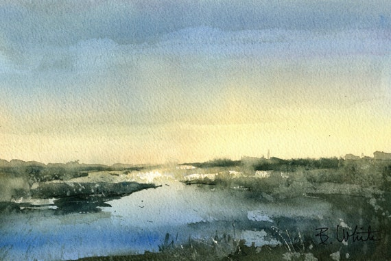 Blue wetlands original  by bonnie white watercolor - 6.75 x 10.5 - if matted, will frame to 11x14 or larger