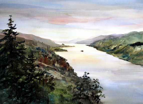Columbia Gorge 401 (Beacon Rock as seen from Cape Horn) signed print of a watercolor painting by Bonnie White