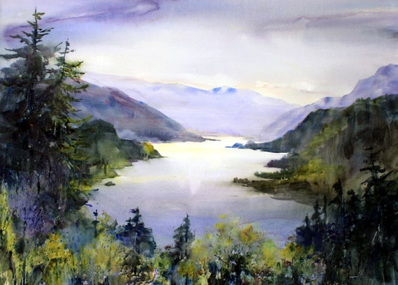 Columbia Gorge 243 - Bonnie White - signed watercolor print - Columbia River Gorge - Columbia Gorge National Scenic Area