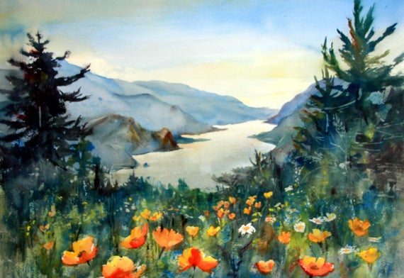 Columbia Gorge 374 a signed landscape print from a watercolor done by me, Bonnie White