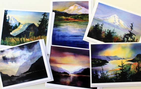 Columbia Gorge Burgundy - note cards - blank cards - watercolor note cards - Bonnie White - Columbia River Gorge - Hood River - Mt Hood