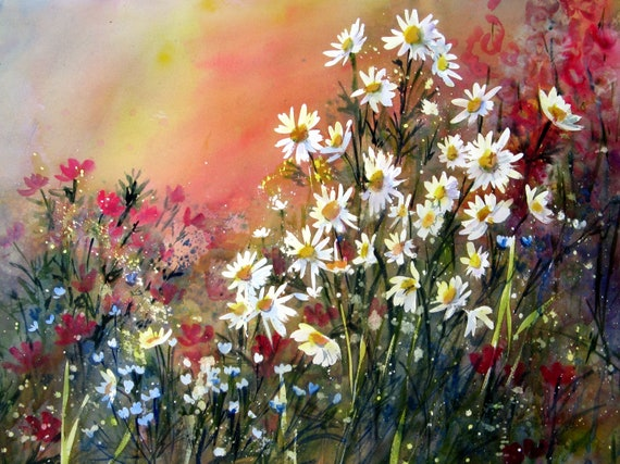 Daisy Garden signed print by Bonnie White daisy floral from a watercolor