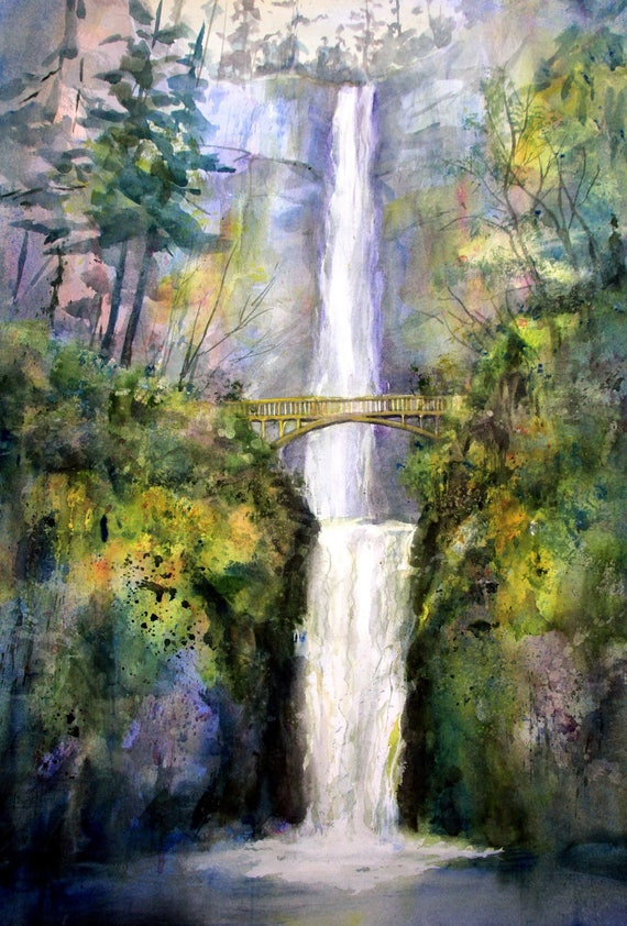 Multnomah Falls 10 - signed Multnomah Falls watercolor print - Bonnie White - Columbia Gorge