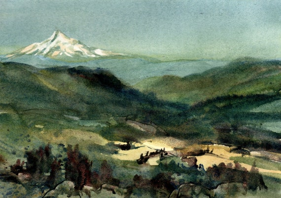 Mt Hood from Husum Valley  - 8x10 matted original watercolor painting - Bonnie White - Mt Hood - pacific northwest - watercolor