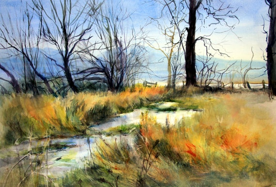 Conboy Wildlife Refuge a signed print of a watercolor painting by Bonnie White watercolor artist