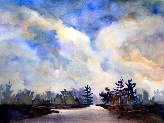 Cloudy Skies - original watercolor by Bonnie White