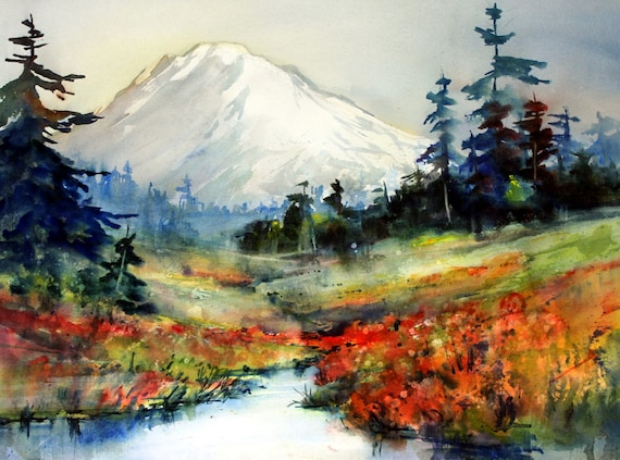 Mt. Adams 78 - signed watercolor print - Bonnie White - Gorge Artist