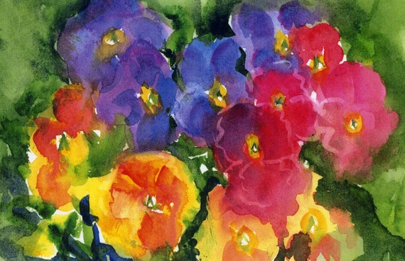 "pansies print signed watercolor ""All the Pretty Faces"""