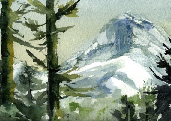Mount Hood original watercolor painting by Bonnie White
