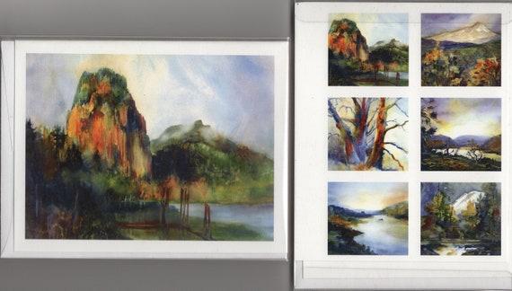 Beacon Rock Note Cards - landscape - Columbia Gorge - note cards - watercolor - Bonnie White - landscape note cards - card set